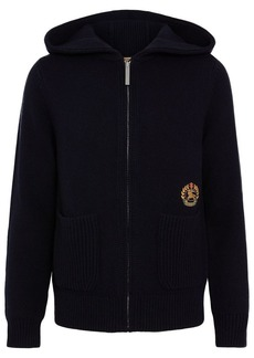 Burberry Embroidered Archive Logo Cashmere Hooded Top