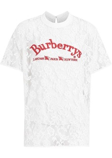 Burberry Embroidered Archive Logo Lace Top