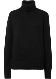 Burberry Embroidered Crest Cashmere Roll-neck Sweater