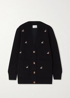 Burberry Embroidered Knitted Cardigan