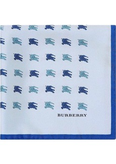 Burberry Equestrian Knight Print Silk Pocket Square