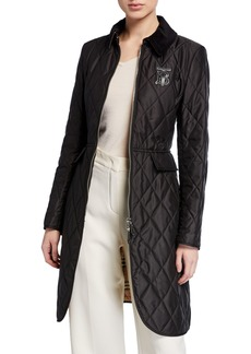 Burberry Equestrian Quilted Zip-Front Jacket  Black