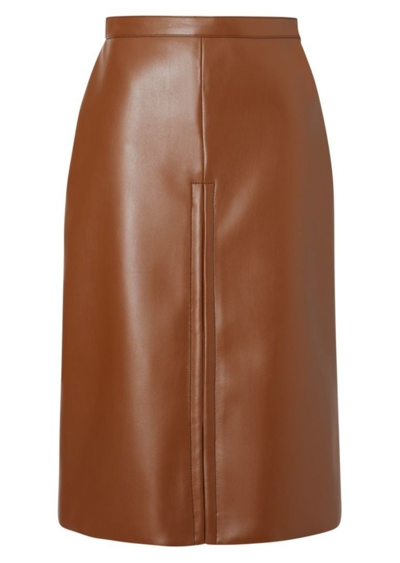 Burberry Faux-Leather Pleat Skirt