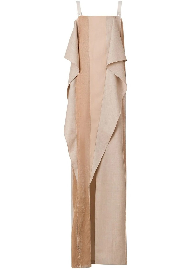 Burberry Feather Detail Panelled Wool, Silk and Velvet Gown