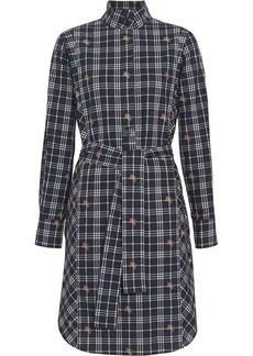 Burberry Fil Coupé Check Cotton Tie-waist Shirt Dress