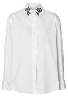 Burberry floral embroidered collar shirt