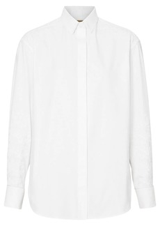 Burberry Floral Embroidered Cotton Dress Shirt