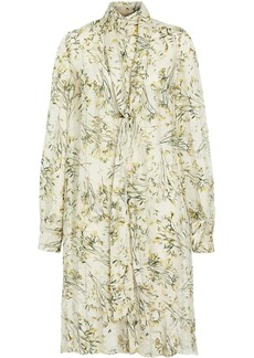 Burberry Floral Print Organza Tie-neck Shirt Dress