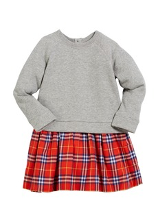 Burberry Francine Sweatshirt & Plaid Skirt Dress