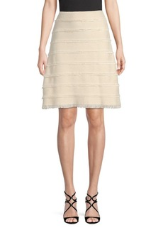 Burberry Fringe Silk A-Line Skirt
