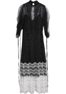 Burberry Gathered-sleeve Geometric Lace Dress