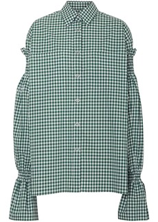 Burberry Gathered Sleeve Gingham Shirt