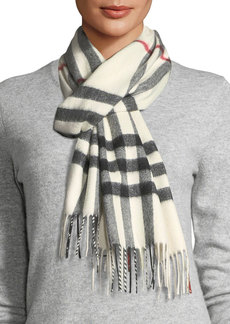 Burberry Giant-Check Cashmere Scarf  White