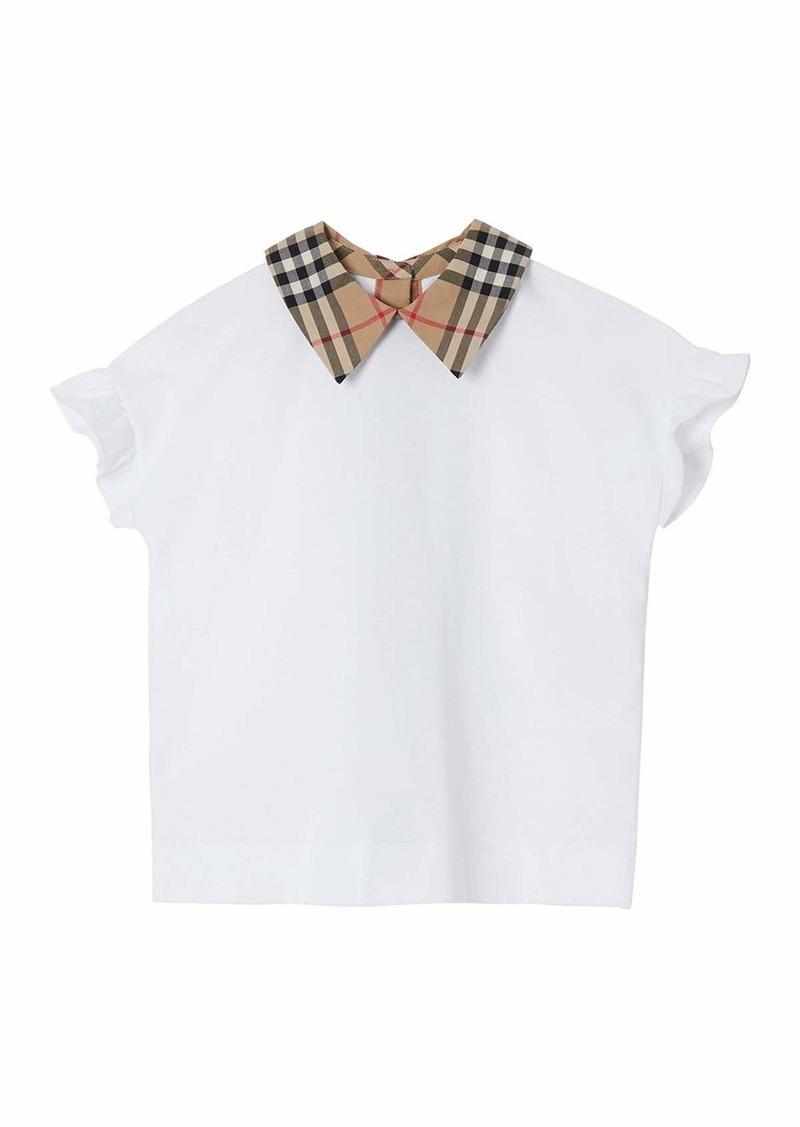 Burberry Girl's Dita Jersey Ruffle Sleeves Shirt w/ Check Collar  Size 3-14