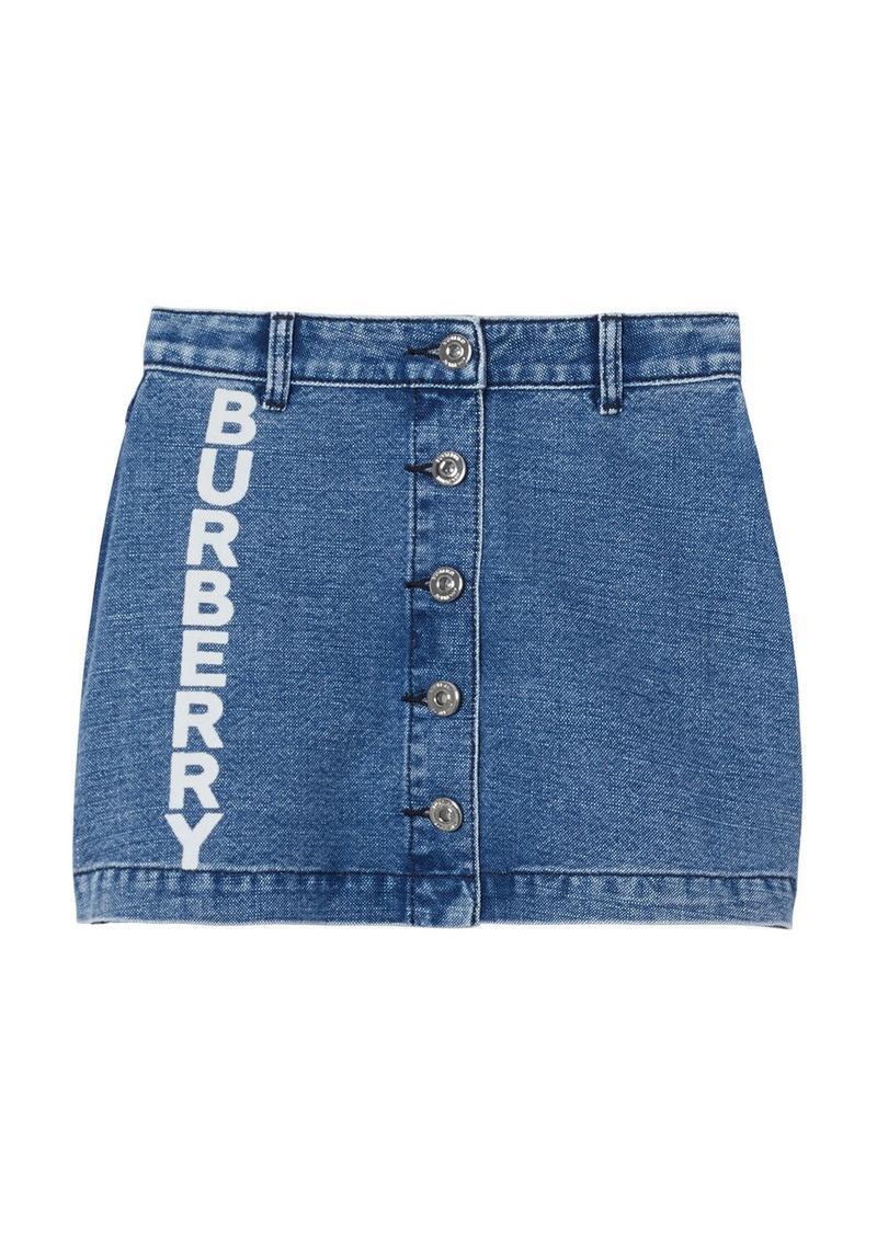 Burberry Girl's Emilia Button Front Logo Denim Skirt  Size 3-14