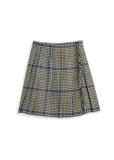 Burberry Little Girl's & Girl's Klorrian Fringed Houndstooth Wool Skirt