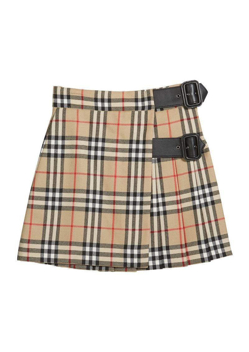 Burberry Girl's Luisa Buckle Check Skirt  Size 4-14