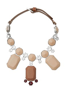 Burberry Glass, Crystal and Leather Drop Necklace