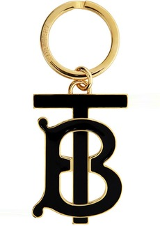 Burberry Gold & Black Monogram Motif Keyring
