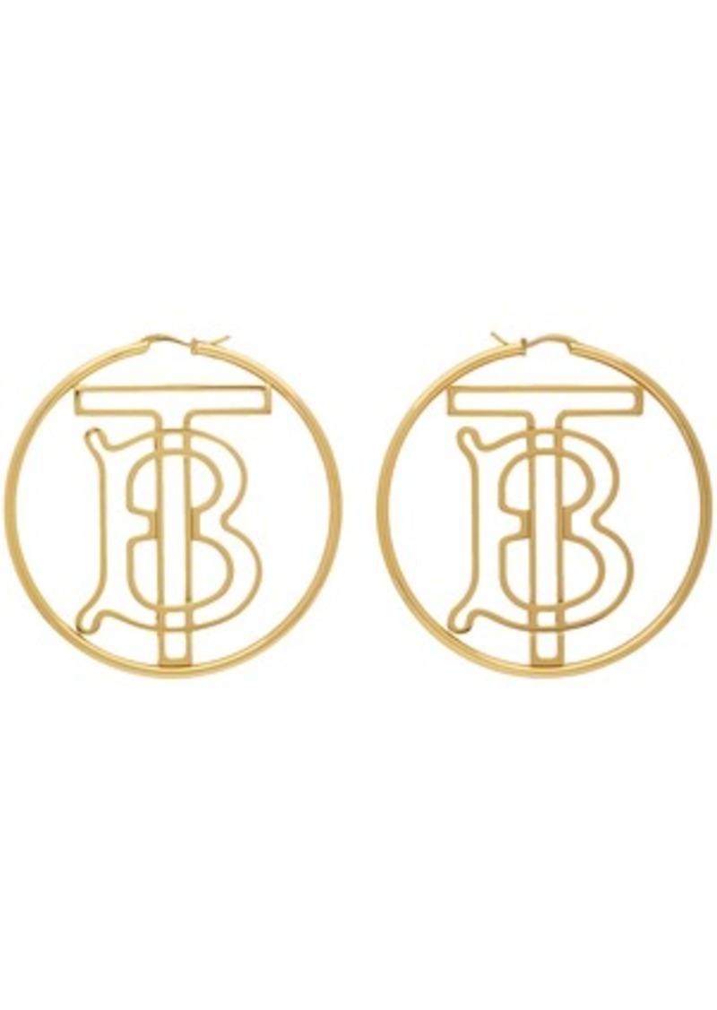 Burberry Gold Monogram Hoop Earrings