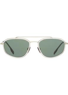 Burberry Gold-plated Geometric Navigator Sunglasses