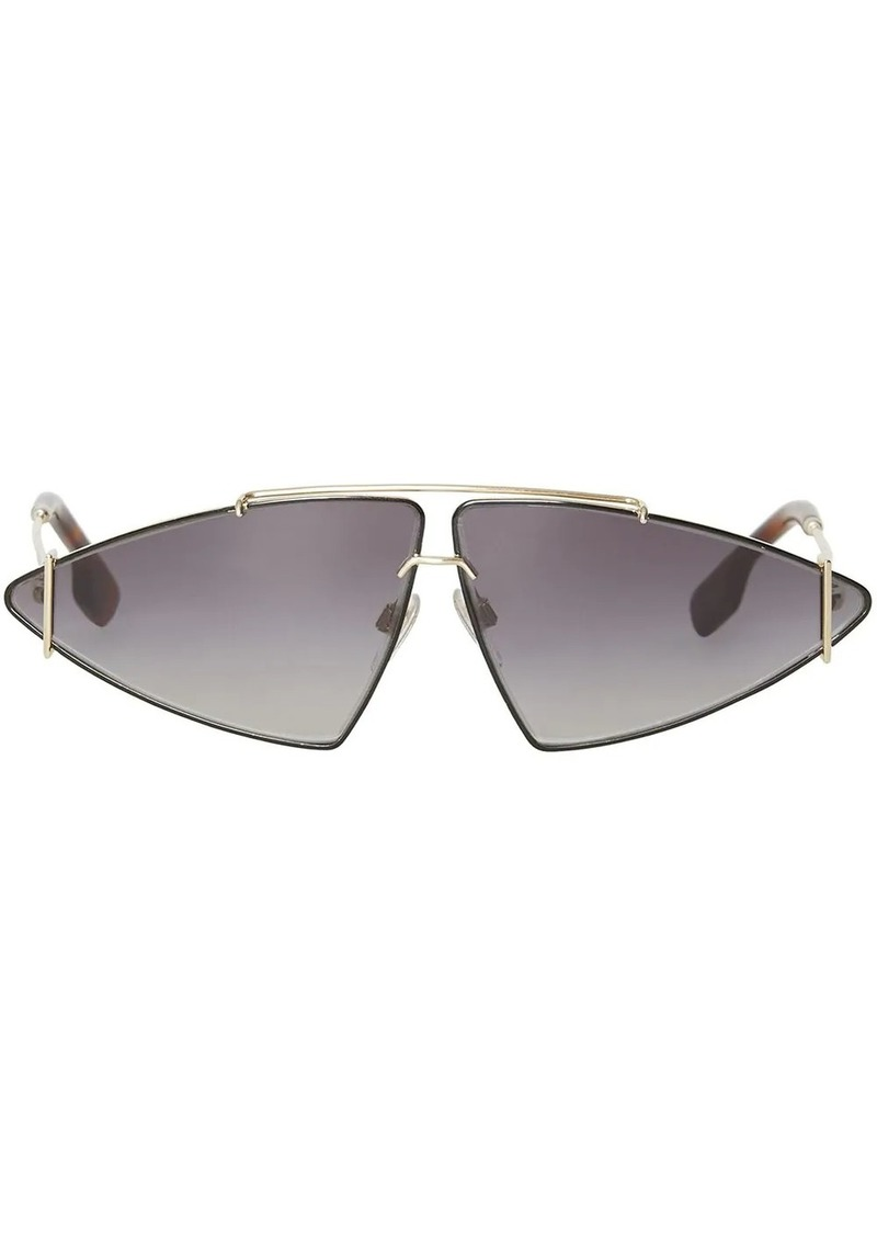 Burberry Gold-plated Triangular Frame Sunglasses