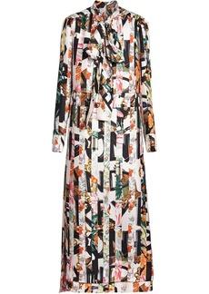 Burberry Graffiti Archive Scarf Print Silk Tie-neck Dress