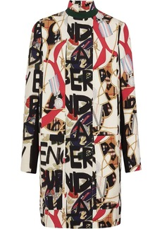 Burberry Graffiti Archive Scarf Print Silk Wool Shift Dress