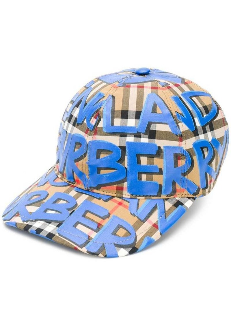 31ea9af4d147c Burberry Graffiti Check Baseball Cap