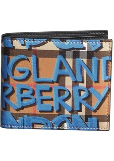 Burberry graffiti-print check billfold wallet