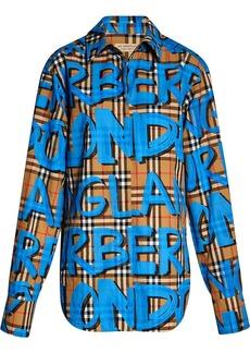 Burberry graffiti-print check shirt