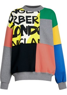 Burberry Graffiti Print Panel Cotton Blend Sweatshirt