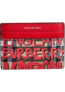 Burberry Graffiti Print Vintage Check Leather Card Case