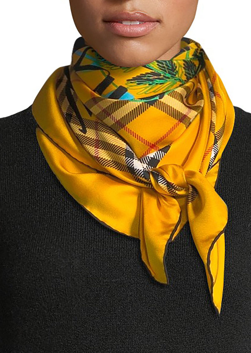 Burberry Graffitied Archive Crest & Check Square Silk Scarf