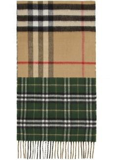Burberry Green & Beige Vintage Check To Giant Check Scarf
