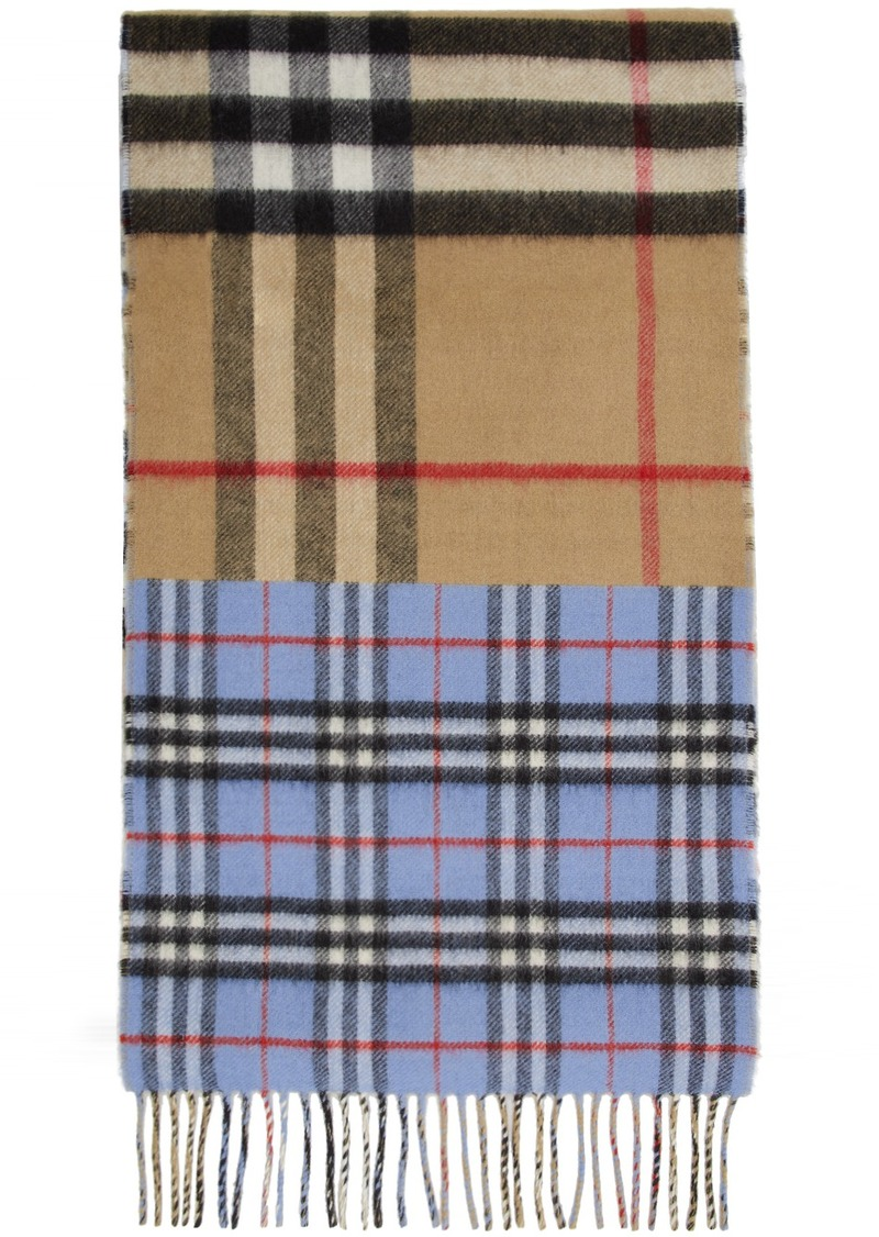 Burberry Green & Blue Vintage Check To Giant Check Scarf