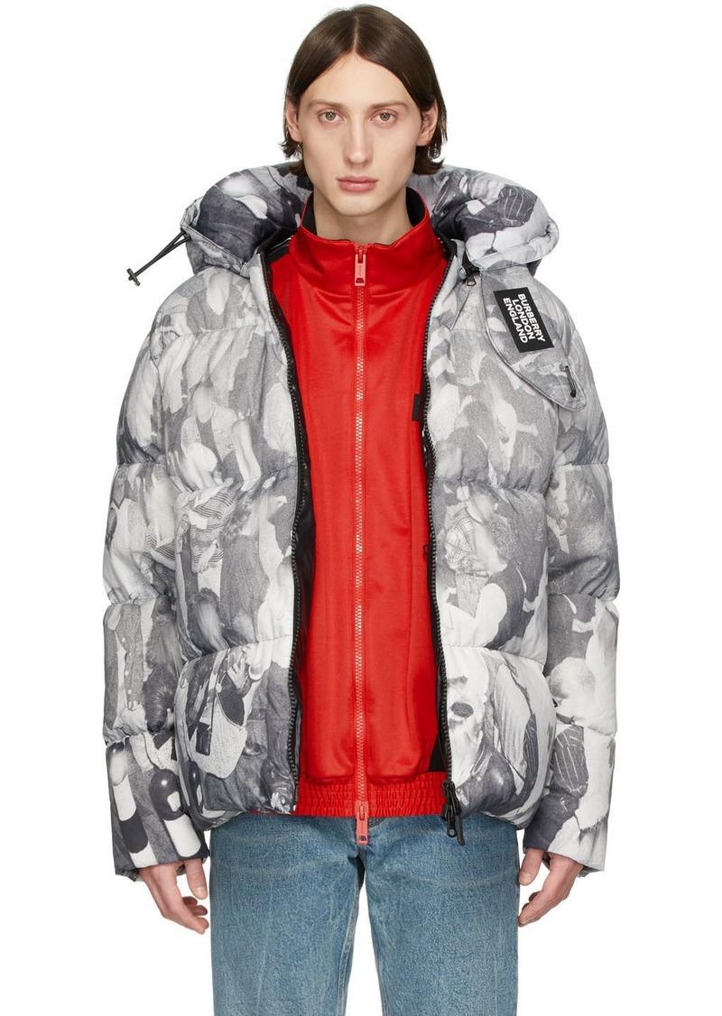 Burberry Grey Down Rave Print Puffer Jacket