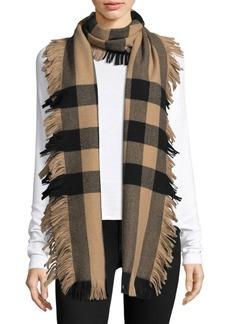 Burberry Half Mega Fringe Wool Scarf