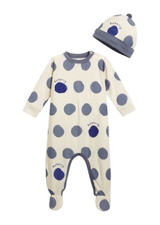 Burberry Hearts & Dots Footie Pajamas w/ Matching Hat