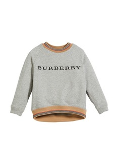 Burberry Hector Melange Logo Sweatshirt w/ Striped Trim
