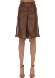 Burberry High Waist Faux Leather Midi Skirt