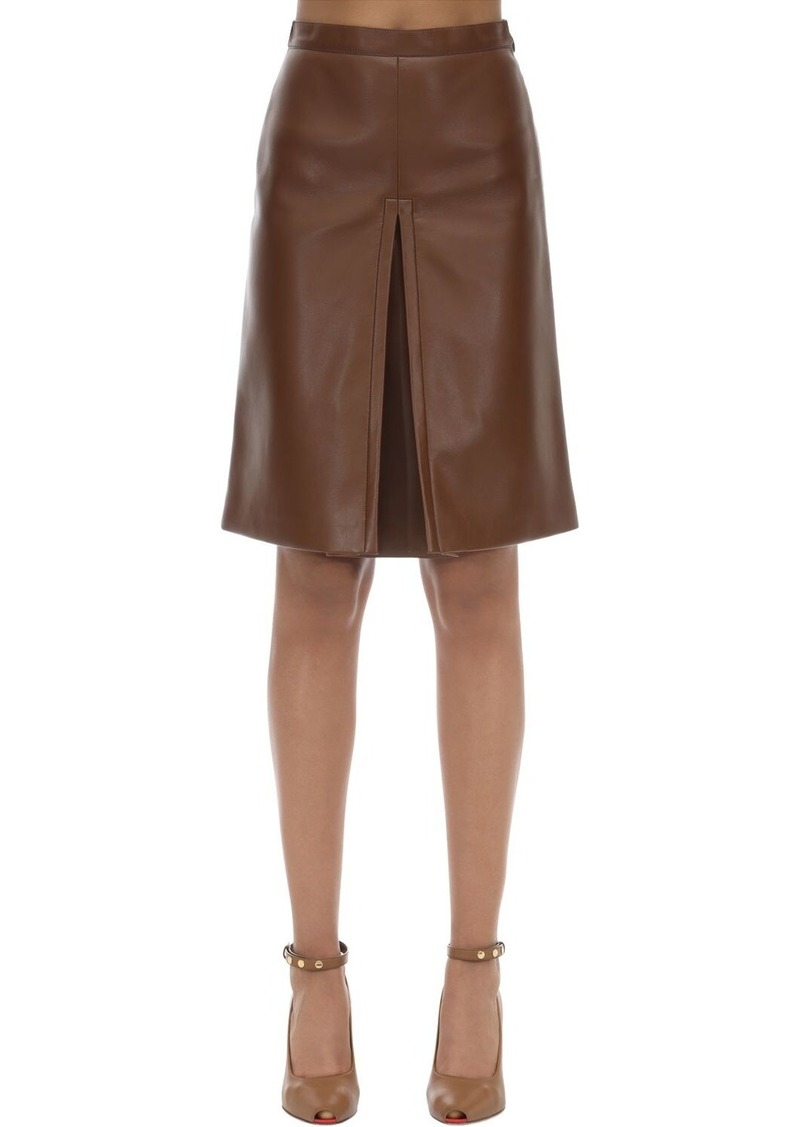 Burberry High Waist Faux Leather Midi Skirt