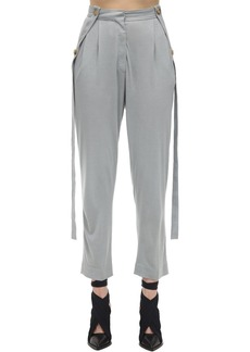 Burberry High Waist Pleated Jersey Pants