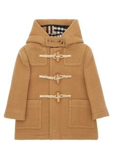 Burberry Hood Wool Duffle Coat W/ Check Interior