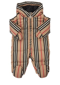 Burberry Hooded Stripe Print Nylon Down Romper