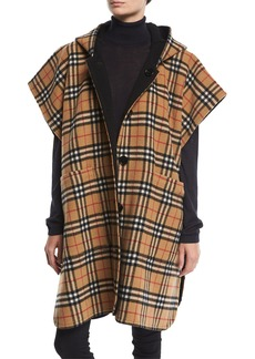 Burberry Hopefield Reversible Vintage Check Hooded Cape
