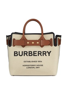 Burberry Horseferry Print Canvas Leather-Belted Medium Tote Bag