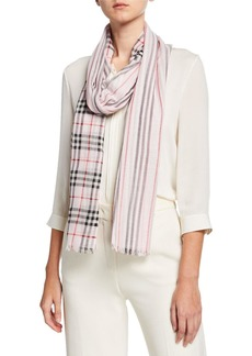 Burberry Icon Stripe & Vintage Check Gauze Scarf