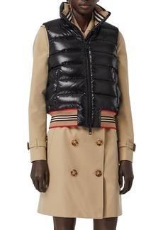 Burberry Icon Stripe-Detail Down Puffer Vest  Black