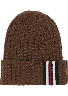 Burberry Icon Stripe Detail Rib Knit Wool Beanie